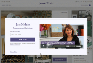 Joss & Main video about email request