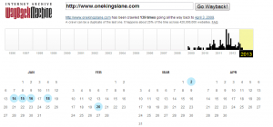 calendar of archived snapshots