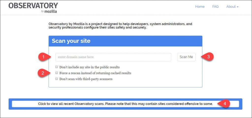 Mozilla Observatory input field