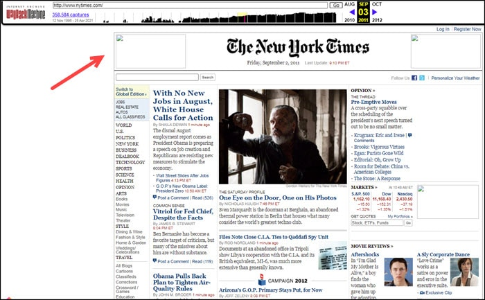 Front page NYT from Internet Archive.