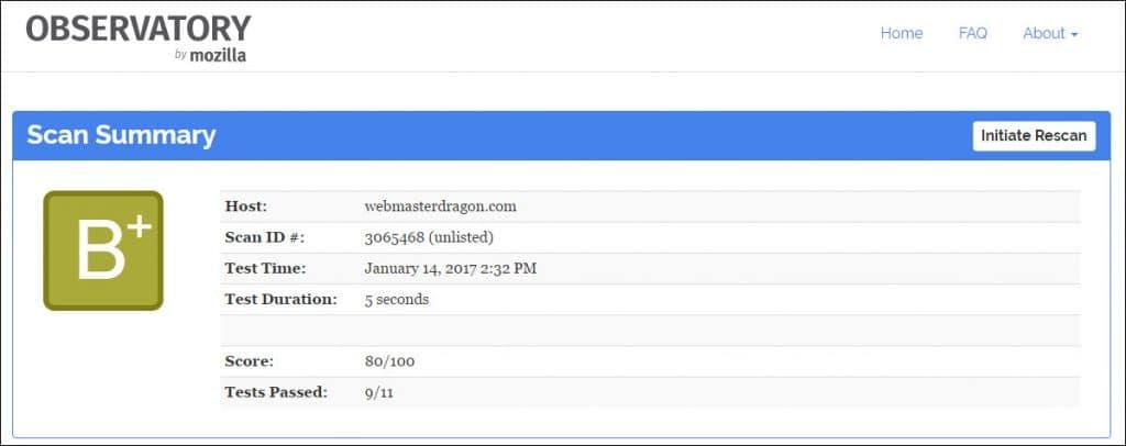 Mozilla Observatory Grade