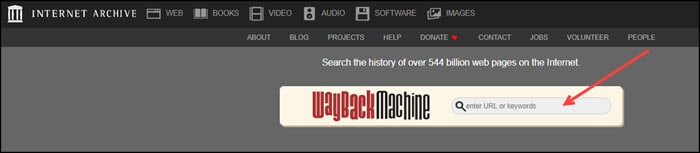 Internet Archive search textbox.