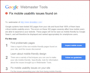Google webmaster tools warning