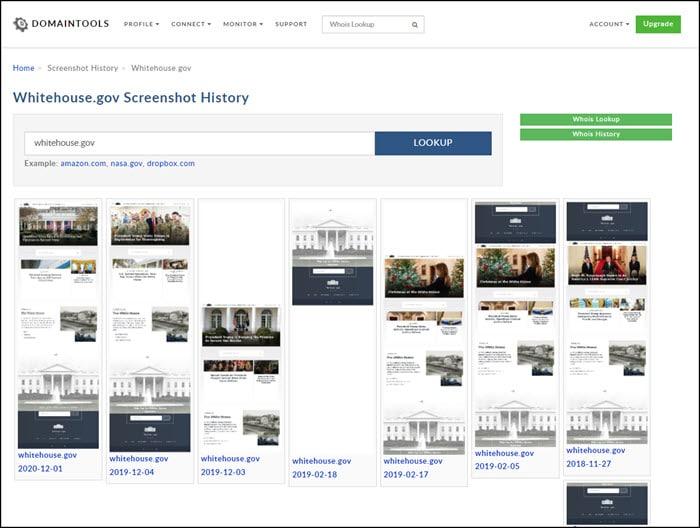Whitehouse.gov homepage screenshots.