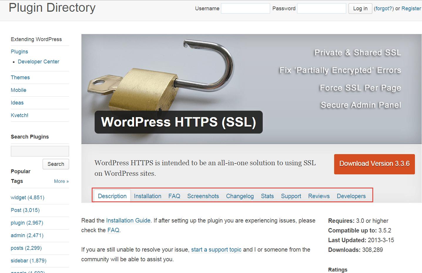 Plugin profile from Wordpress.org